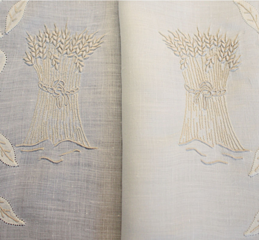 Vintage Madeira Wheat Pattern Organdy Placemat Set Setting for 10