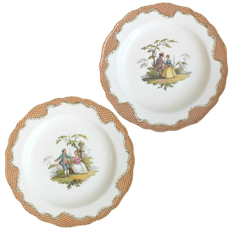 Pair Antique 19th Century Meissen Porcelain Plates