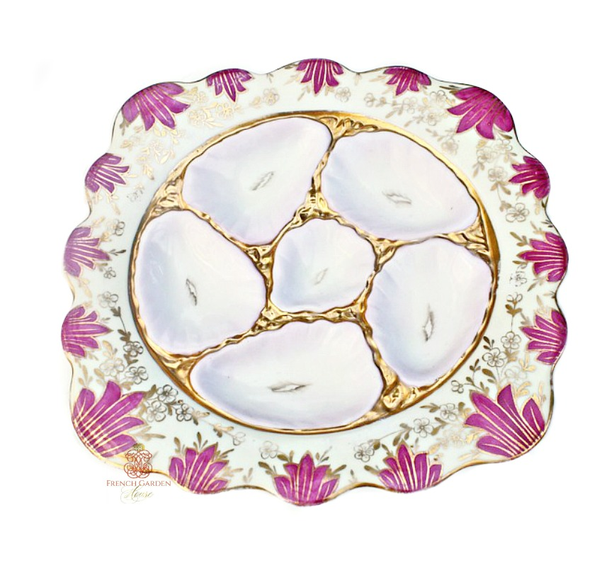 Antique 19th Century Hand Painted Pink Oyster Plate Fischer Mieg
