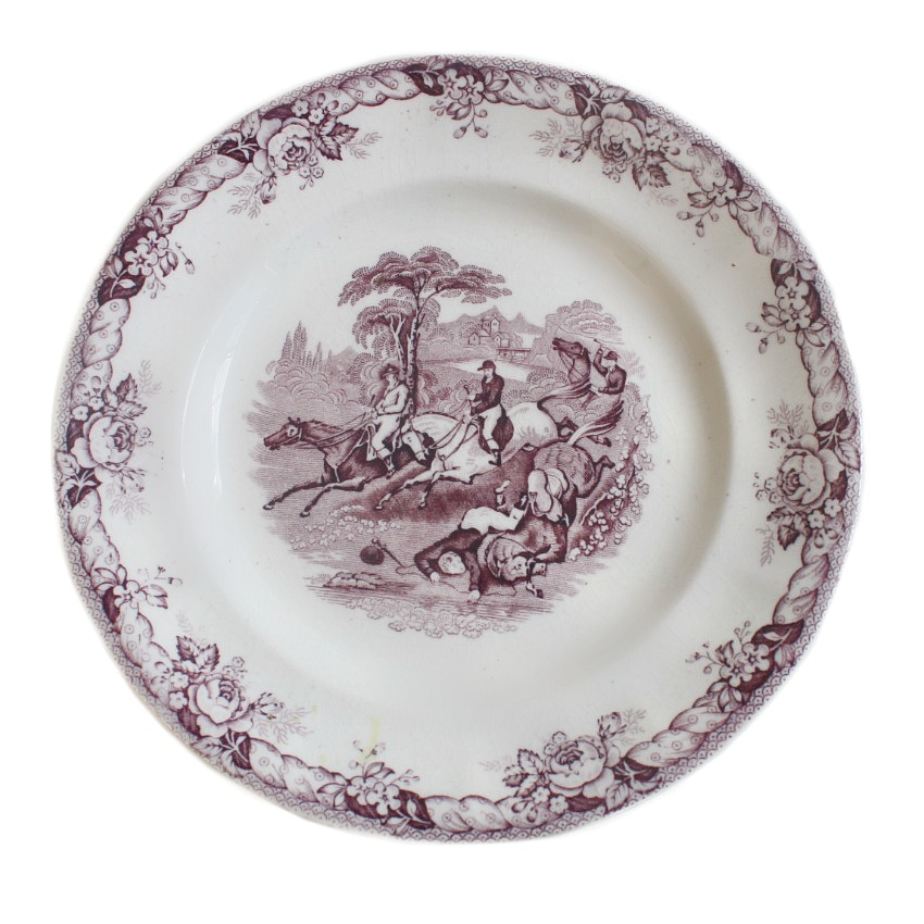 19th Century Staffordshire Mulberry Transferware Plate Horse Riding