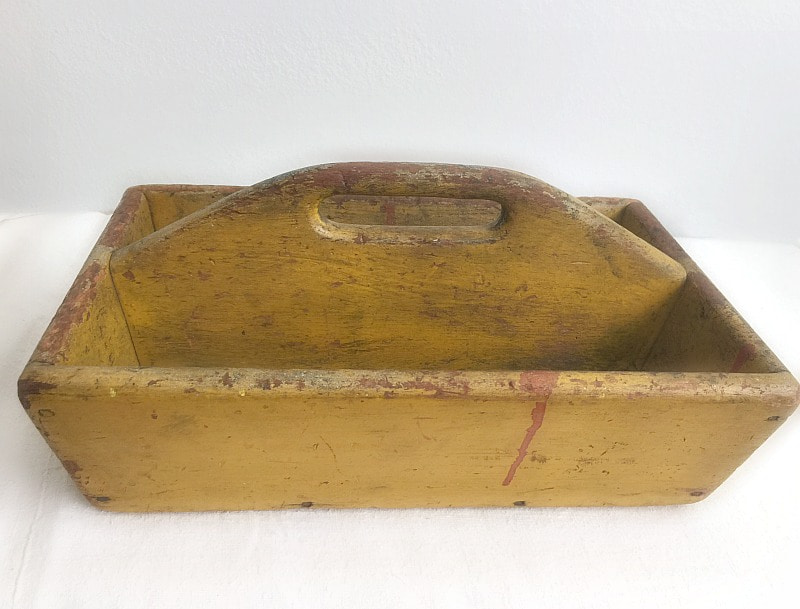 Antique Mustard Painted Wood Knife Carrier or Tote