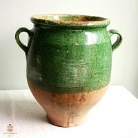 Original Antique French Confit Pot with Rare Green Glaze