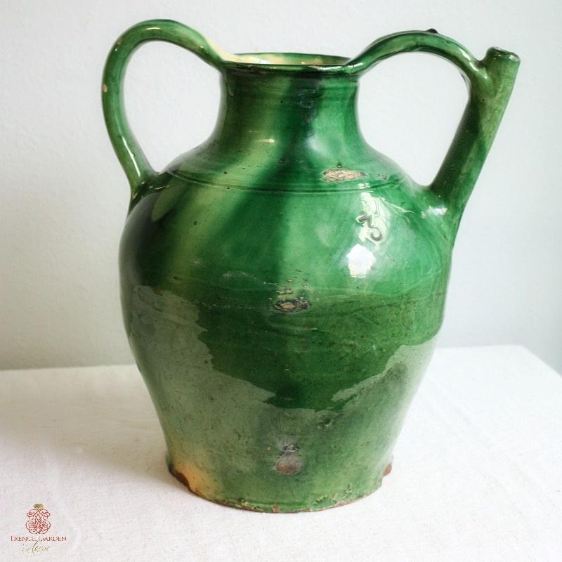 French Green Glazed Terra Cotta Jug or Water Cruche