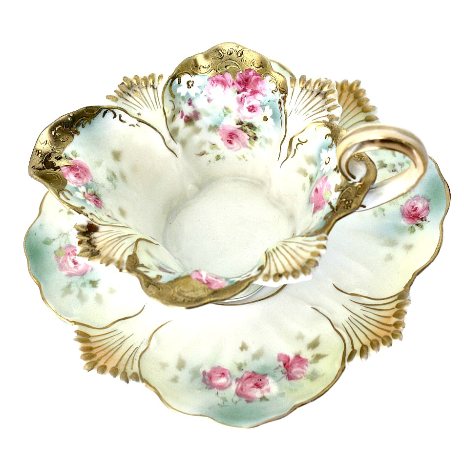 Heirloom Antique Hand Panted RS Prussia Sauce Serving Bowl