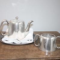 Hotel Silver Sheffield Teapot and Sugar Bowl Set