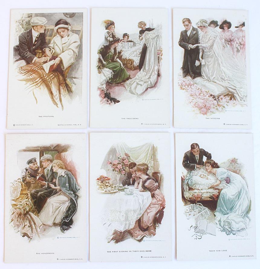 Antique Harrison Fischer Greatest Moments Set 6 Postcards