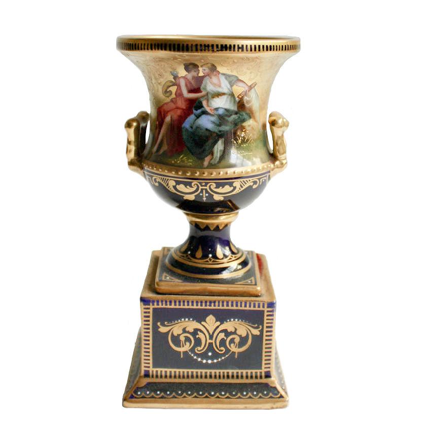 Antique Royal Vienna Hand Painted Petite Urn Venus and Cupid