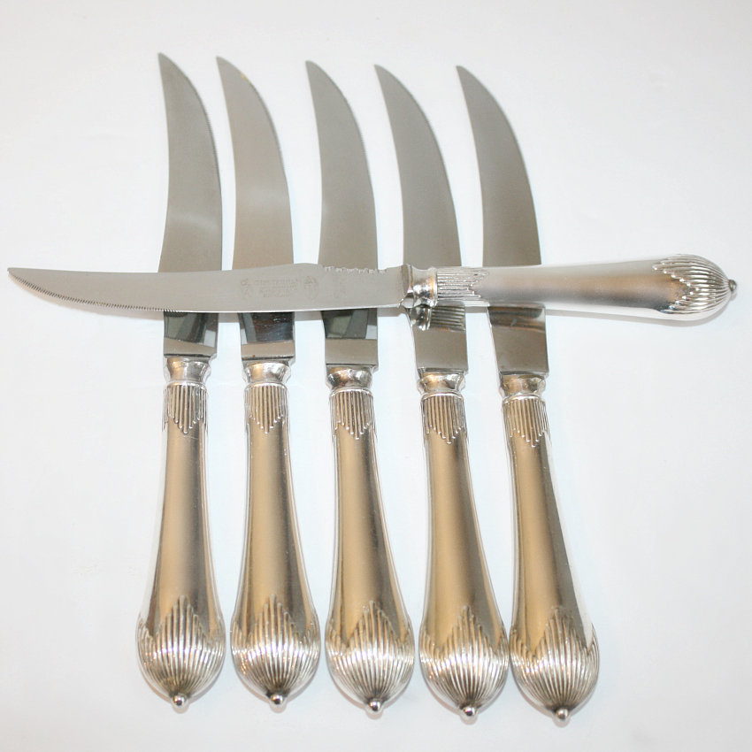English Silver Meat Knives Set of 6 Boxed