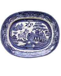 English Staffordshire Blue and White Willow Meat Platter