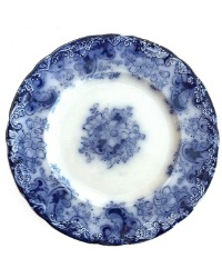 Antique Flow Blue Floral Plate