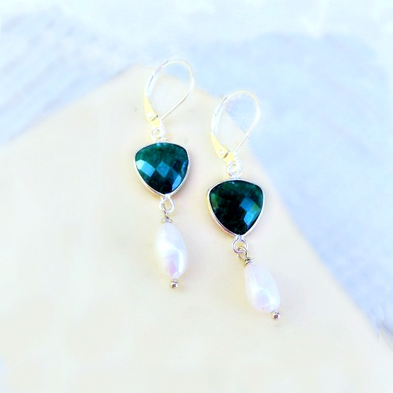 Natural Emerald and Pearl Earrings