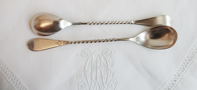 Antique Silver Plated Daisy Windsor Twist Bar Spoons Set of 4