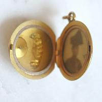 Antique Art Nouveau Gold Celestial Portrait Locket with Diamond