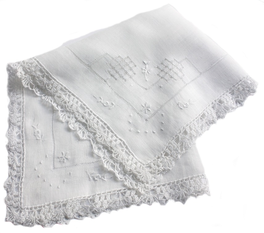 Antique Hand Embroidered White Linen Wedding Handkerchief