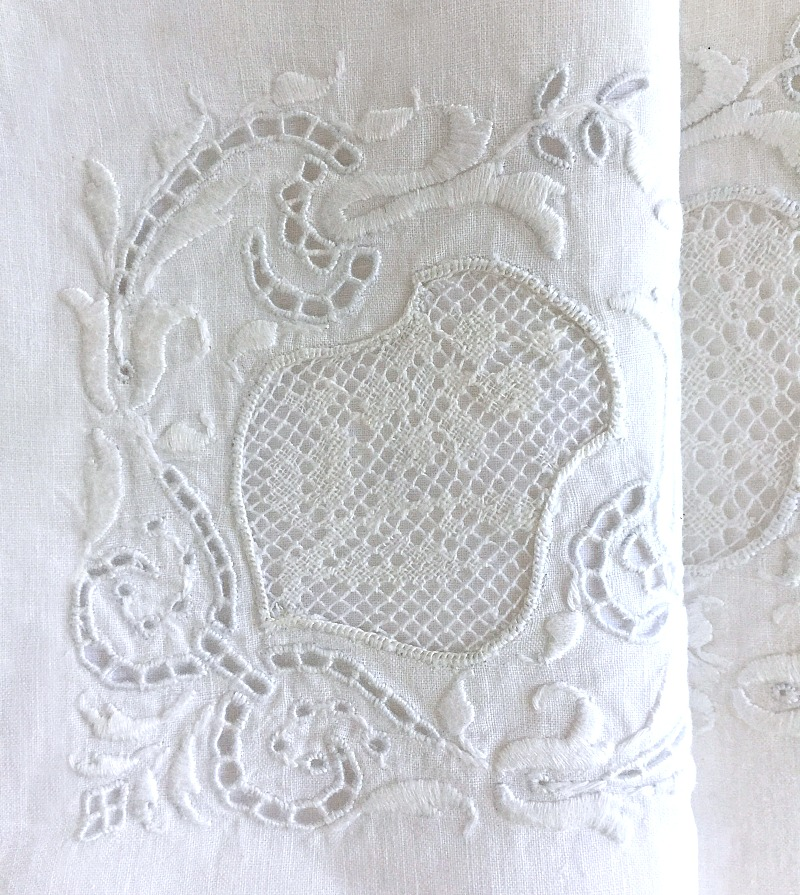 Antique Linen and Lace Hand Embroidered Napkins 6
