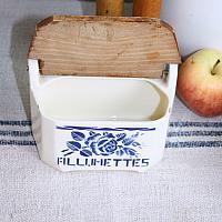 Antique French Pottery Blue Art Deco Floral Allumettes Box