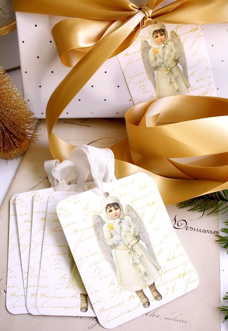 Holiday Angel Gift Tags and Gold Satin Ribbon Set
