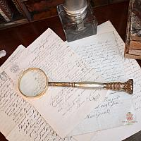 Antique 19th Century Gilt & Mother of Pearl Long Magnifying Glass