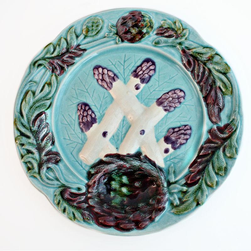 Vintage French Majolica Asparagus and Artichoke Plate Aqua Purple