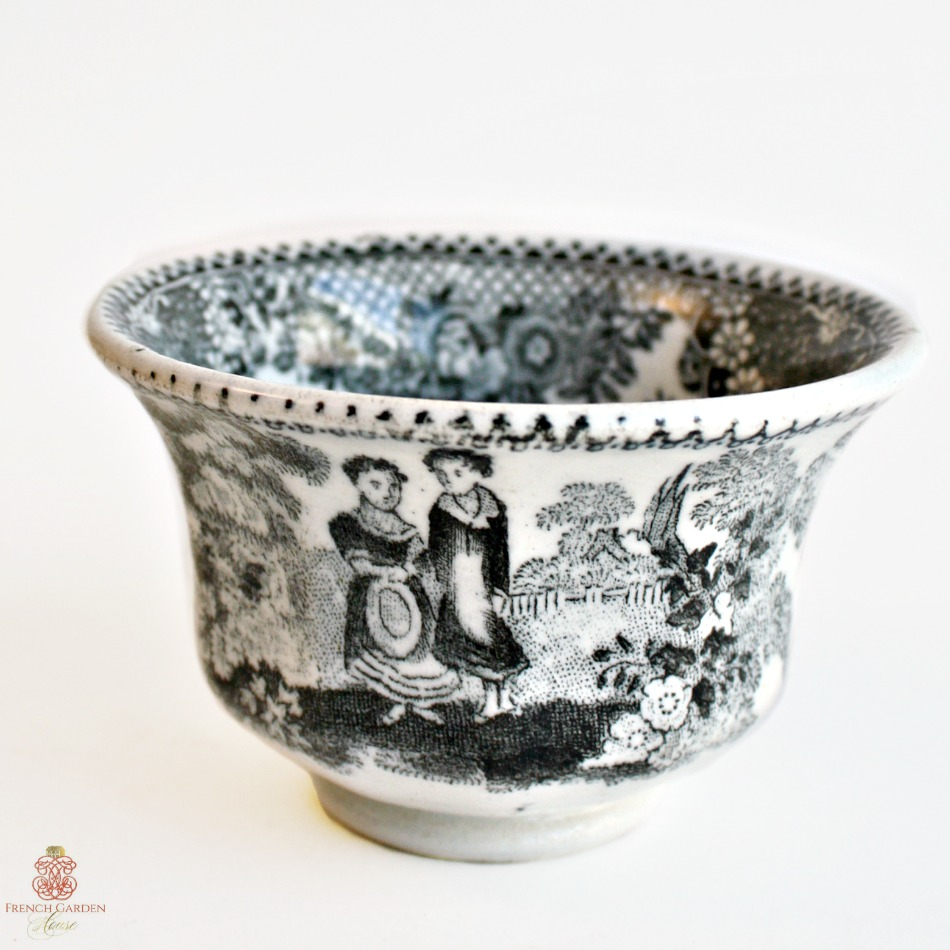Early Antique Black Transferware Tea Bowl