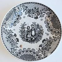 Early Antique Black Transferware Cup and Saucer Orphans