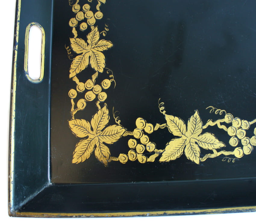 French Hand Painted Tole Tray Black with Gilt Grapes and Vines