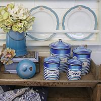 Antique French Country Enamel Milk Pail Ombre Blue