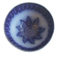 19th Century Flow Blue Bowl Leaves