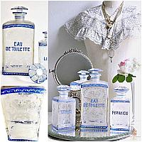 Antique Blue Bohemian Etched Glass Vanity Bottle Set of 3