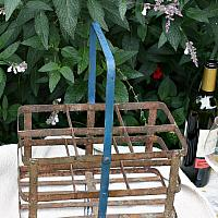 Antique French Metal Wine Bottle Carrier