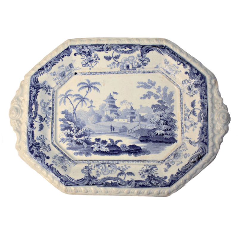 Rare Early 19th Century Minton Chinese Marine Tea Biscuit Sweet Platter