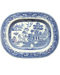 19th Century English Staffordshire Blue and White Willow Platter Medium
