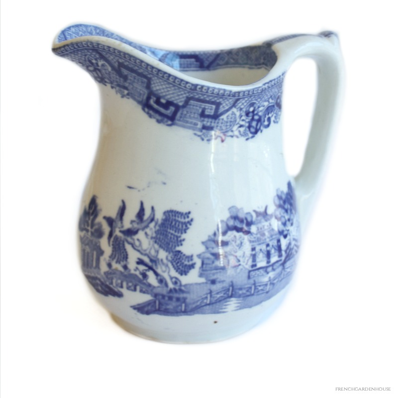 Antique Blue Willow Ironstone Pitcher