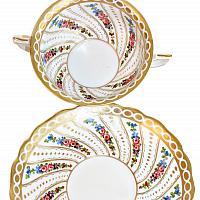Antique Bohemian Porcelain Rouen Consomme Cup and Saucer Floral