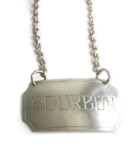 Estate Silver BOURBON Decanter Label