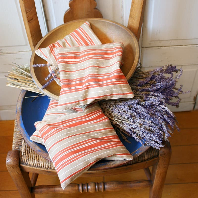Antique French Ticking Lavender Sachet Red Striped Camel