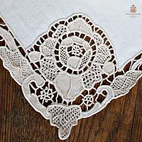 Antique Estate Heirloom Lace And Linen Cream Napkins Set of 11