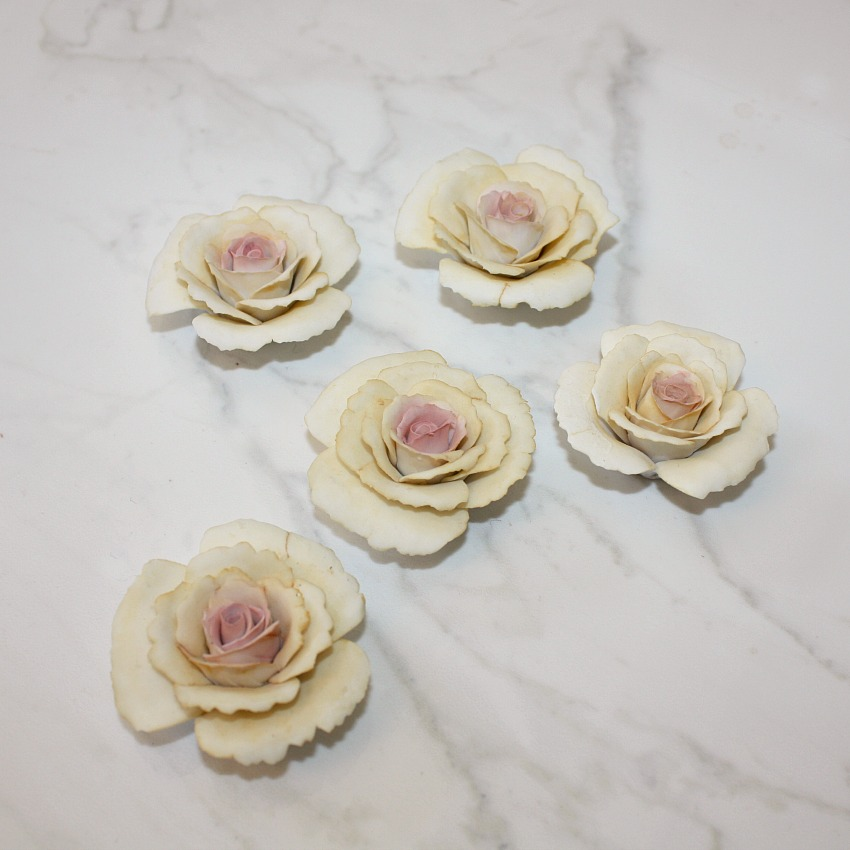 Vintage Italian Porcelain Roses Pink and Yellow