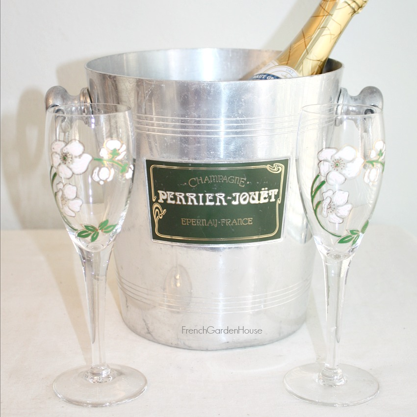 Vintage French Champagne Perrier Jouet Bucket & Two Flutes