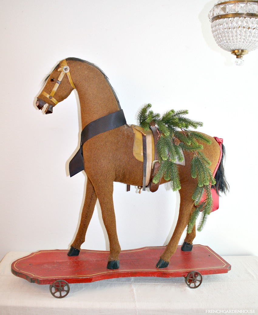Antique Country Child's Toy Riding Horse Pull Toy