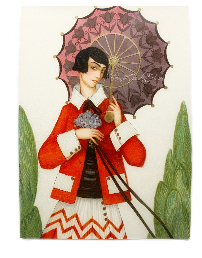 Art Deco Chromolithograph Gilded Girl with Parasol Print