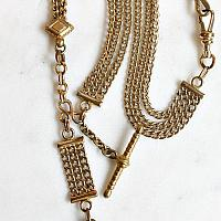 Antique Victorian 10 kt Gold Watch Chain Necklace with Locket