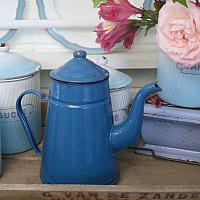 French Blue Enameled Coffee Pot