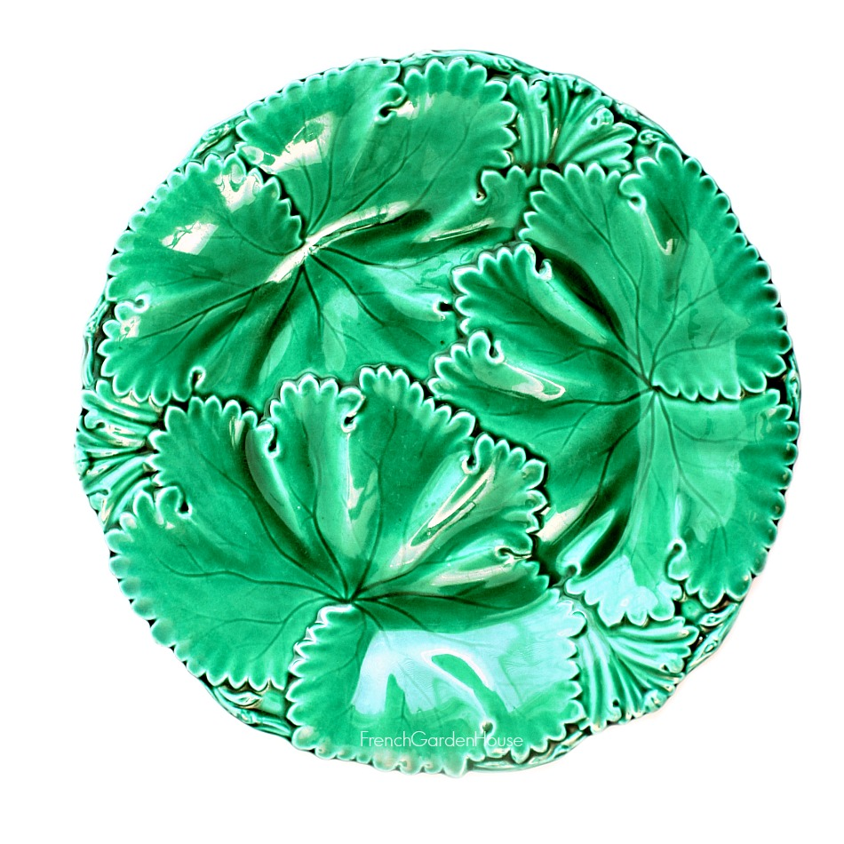Early 19th Century Green Majolica Leaf Plate Copeland