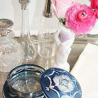 Antique Cut Overlay Blue Glass Powder Jar