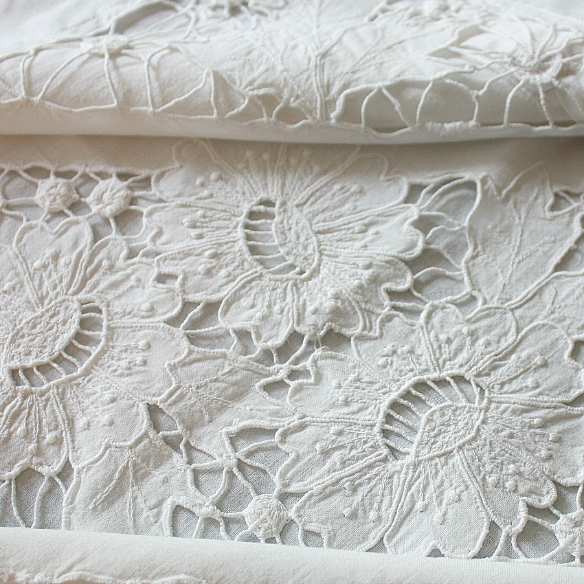 Antique 19th Century French Linen Hand Embroidered Floral Pillow Sham