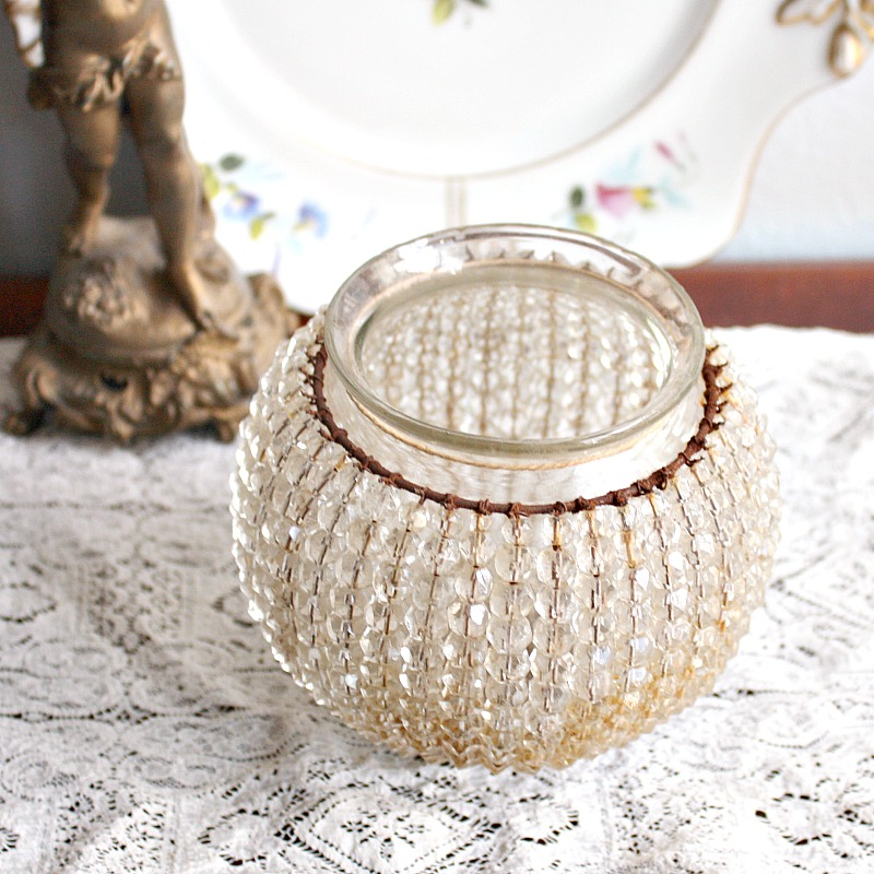 Antique Czech Beaded Crystal Glass Lamp Shade Bulb Cover