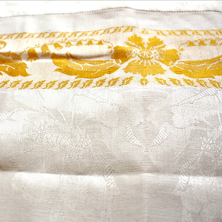 Antique Damask Linen Yellow Floral Hand Towel
