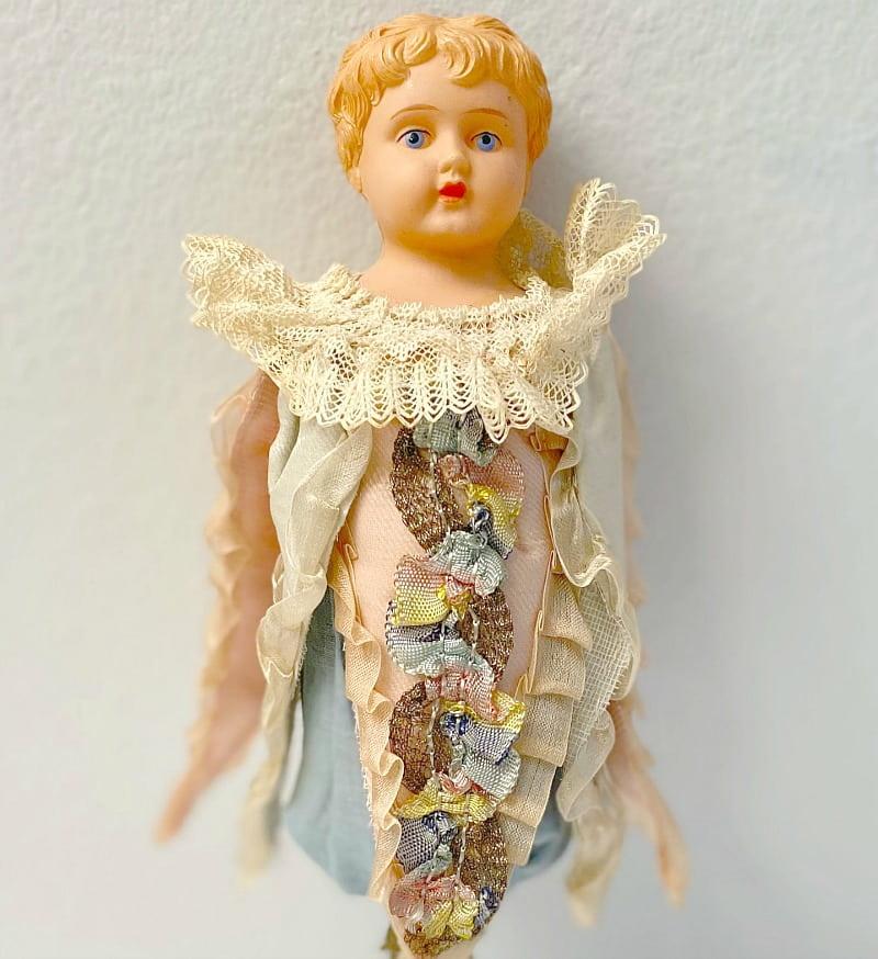Rare Antique Celluloid Marotte Folie Head Doll