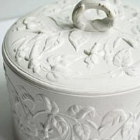 Antique White Drabware Cheese Dome with Fuchsias